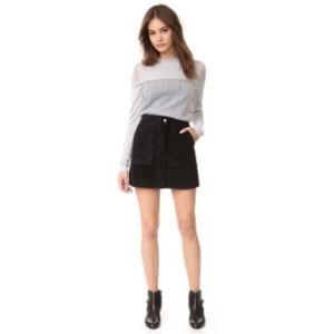 NWT Rage & Bone Denny Black Suede Mini Skirt